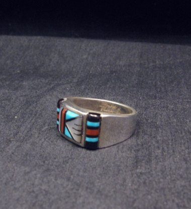 Image 1 of Zuni Native American Multi Stone Inlay Ring, sz9-3/4