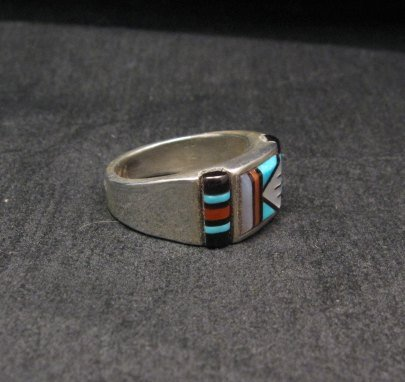 Image 2 of Zuni Native American Multi Stone Inlay Ring, sz9-3/4