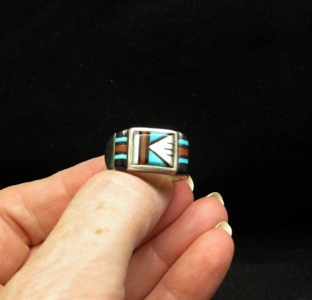 Image 3 of Zuni Native American Multi Stone Inlay Ring, sz9-3/4