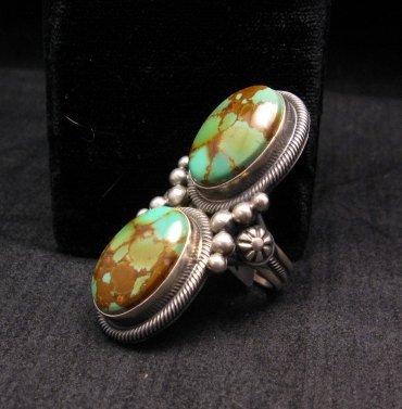 Image 1 of Gloria Begay Navajo 2-stone Kingman Turquoise Sterling Silver Ring sz8