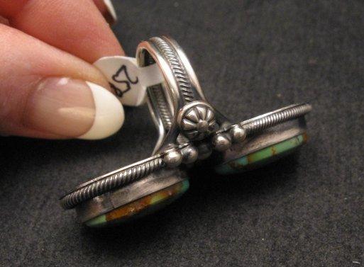 Image 2 of Gloria Begay Navajo 2-stone Kingman Turquoise Sterling Silver Ring sz8
