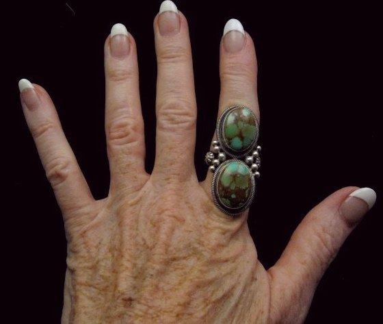 Image 3 of Gloria Begay Navajo 2-stone Kingman Turquoise Sterling Silver Ring sz8