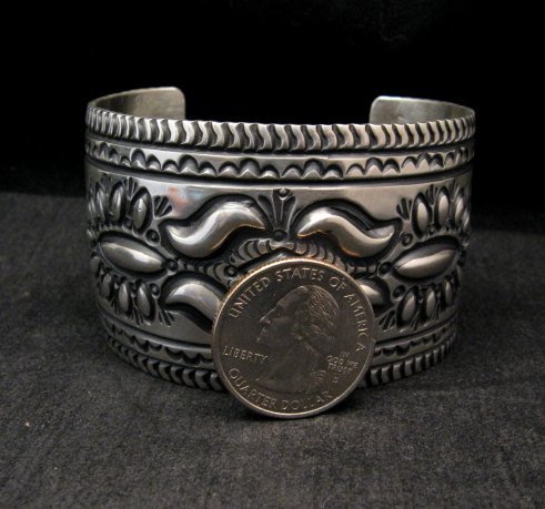 Image 1 of Darryl Becenti Navajo Stamped Sterling Silver Cuff Bracelet