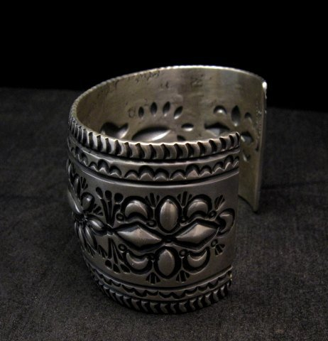 Image 2 of Darryl Becenti Navajo Stamped Sterling Silver Cuff Bracelet