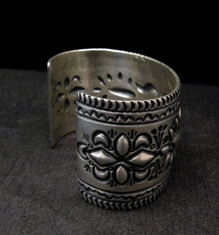 Image 3 of Darryl Becenti Navajo Stamped Sterling Silver Cuff Bracelet