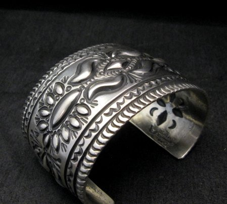 Image 5 of Darryl Becenti Navajo Stamped Sterling Silver Cuff Bracelet