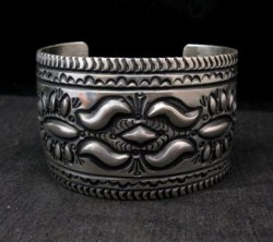 Darryl Becenti Navajo Stamped Sterling Silver Cuff Bracelet
