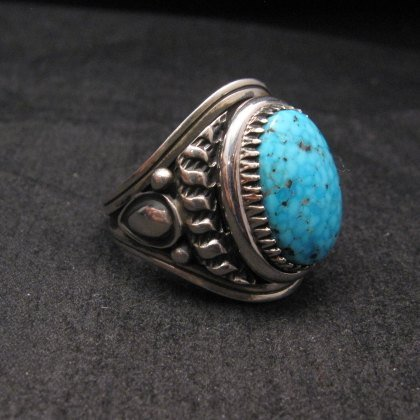 Image 1 of Native American Navajo Derrick Gordon Turquoise Mens Ring Sz11-1/2
