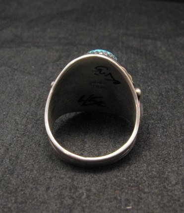Image 3 of Native American Navajo Derrick Gordon Turquoise Mens Ring Sz11-1/2