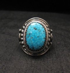 Native American Navajo Derrick Gordon Turquoise Mens Ring Sz11-1/2