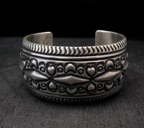 Image 0 of Darryl Becenti Navajo Native American Sterling Silver Cuff Bracelet