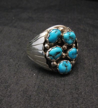 Image 1 of Navajo Turquoise Sterling Silver Mens Ring sz13-1/2, Marlene Martinez