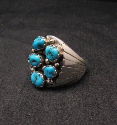 Image 2 of Navajo Turquoise Sterling Silver Mens Ring sz13-1/2, Marlene Martinez