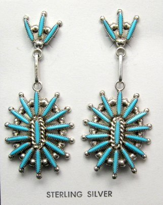 Image 0 of Zuni Native American Needle Point Turquoise and Silver Dangle Earrings