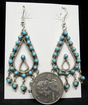 Image 1 of Zuni Native American Turquoise Snake-eye Dangle Earrings