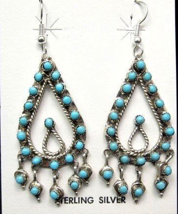 Image 0 of Zuni Native American Turquoise Snake-eye Dangle Earrings