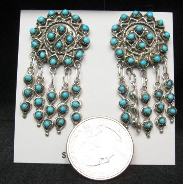 Image 1 of Zuni Native American Turquoise & Sterling Silver Dangle Post Earrings