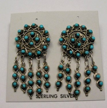 Image 2 of Zuni Native American Turquoise & Sterling Silver Dangle Post Earrings