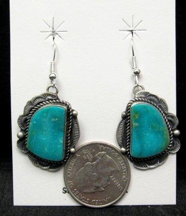 Image 1 of Navajo Native American Turquoise Silver Earrings, Sheila Tso