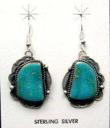 Navajo Native American Turquoise Silver Earrings, Sheila Tso