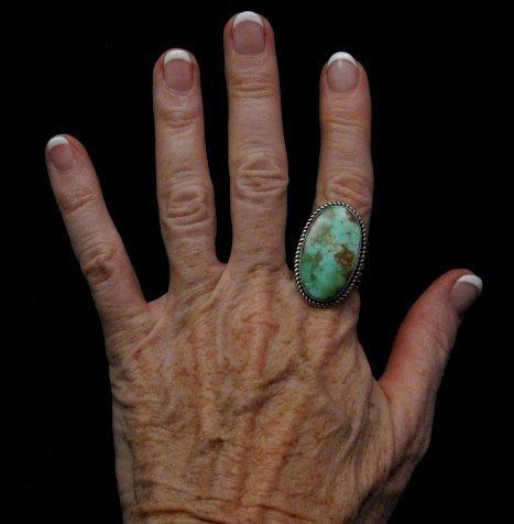 Image 3 of Albert Jake ~ Navajo ~ Native American Royston Turquoise Ring Sz9-11 adjustable