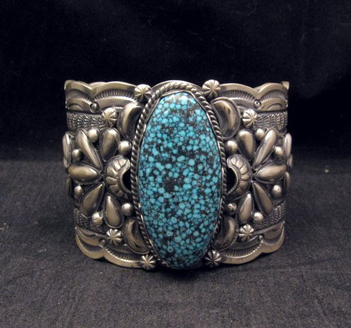 Image 0 of Wide Navajo Native American Kingman Web Turquoise Bracelet, Gilbert Tom