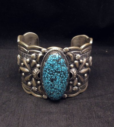 Image 1 of Wide Navajo Native American Kingman Web Turquoise Bracelet, Gilbert Tom