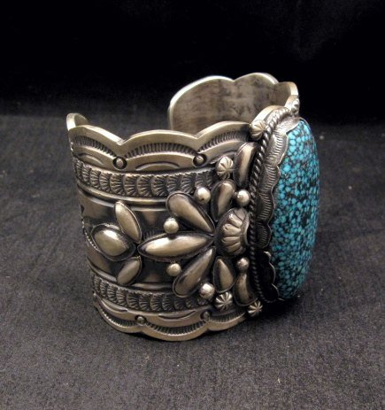 Image 2 of Wide Navajo Native American Kingman Web Turquoise Bracelet, Gilbert Tom