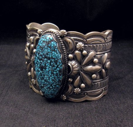 Image 3 of Wide Navajo Native American Kingman Web Turquoise Bracelet, Gilbert Tom