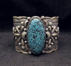 Wide Navajo Native American Kingman Web Turquoise Bracelet, Gilbert Tom
