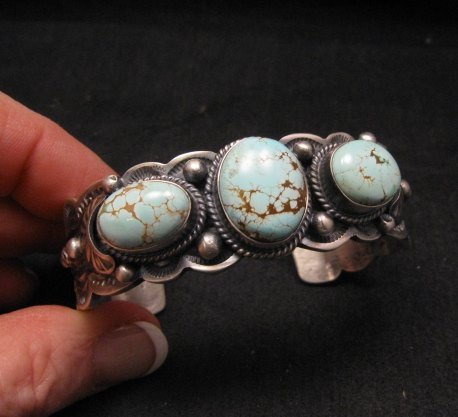Image 1 of Navajo Native American Number 8 Turquoise Bracelet, Gilbert Tom