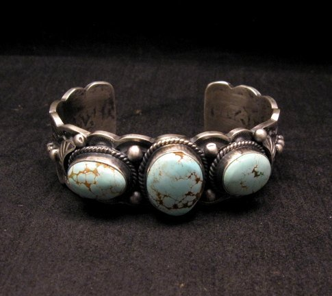 Image 5 of Navajo Native American Number 8 Turquoise Bracelet, Gilbert Tom