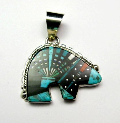 Image 1 of Native American Navajo Multigem Inlaid Bear Pendant, Ray Jack