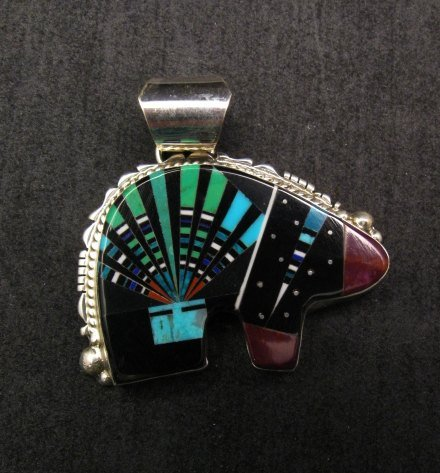 Image 0 of Native American Navajo Multistone Inlaid Cosmic Bear Pendant, Ray Jack