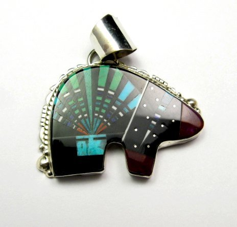 Image 1 of Native American Navajo Multistone Inlaid Cosmic Bear Pendant, Ray Jack