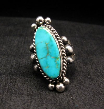 Image 1 of Old Pawn Style Native American Royston Turquoise Ring sz8-1/2, Guy Hoskie