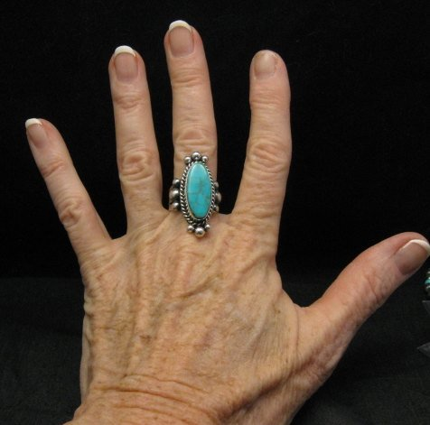 Image 2 of Old Pawn Style Native American Royston Turquoise Ring sz8-1/2, Guy Hoskie