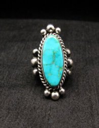 Old Pawn Style Native American Royston Turquoise Ring sz8-1/2, Guy Hoskie