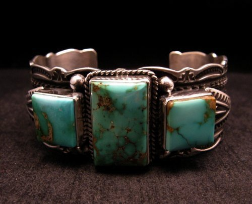 Image 1 of Native American Navajo Royston Turquoise Silver Bracelet, Darrell Cadman