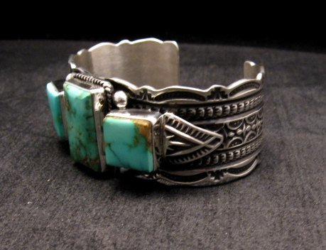 Image 3 of Native American Navajo Royston Turquoise Silver Bracelet, Darrell Cadman