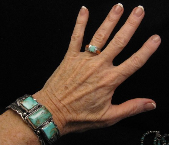 Image 4 of Native American Navajo Royston Turquoise Silver Bracelet, Darrell Cadman