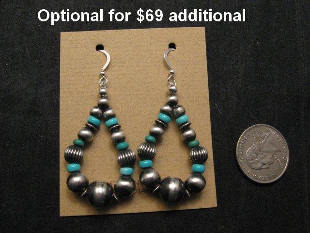 Image 3 of Navajo Kingman Turquoise Heart Pendant w/silver beads necklace, Geneva Apachito