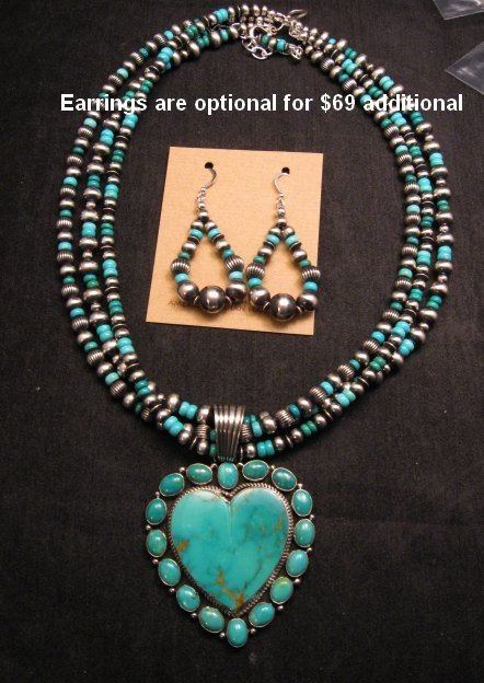 Image 4 of Navajo Kingman Turquoise Heart Pendant w/silver beads necklace, Geneva Apachito