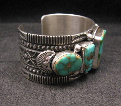 Image 5 of Native American Navajo 5-stone Royston Turquoise Bracelet, Darrell Cadman