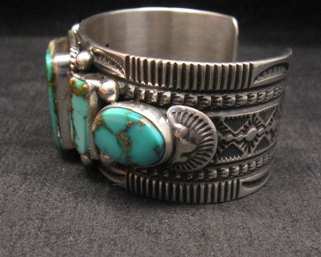 Image 6 of Native American Navajo 5-stone Royston Turquoise Bracelet, Darrell Cadman
