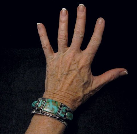 Image 3 of Native American Navajo 5-stone Royston Turquoise Bracelet, Darrell Cadman