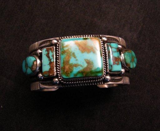 Image 4 of Native American Navajo 5-stone Royston Turquoise Bracelet, Darrell Cadman