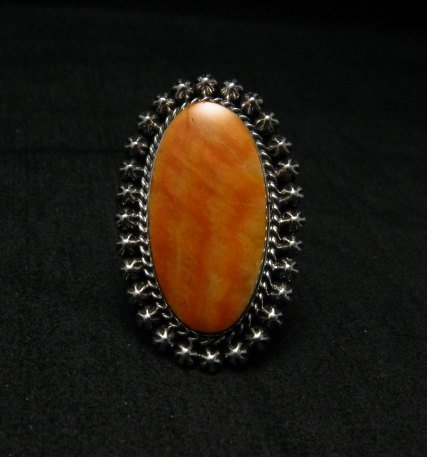 Image 0 of Spiny Oyster Navajo Silver Ring Sz6-1/2 by Happy Piasso