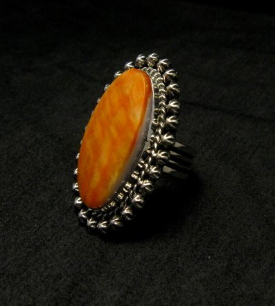 Image 2 of Spiny Oyster Navajo Silver Ring Sz6-1/2 by Happy Piasso