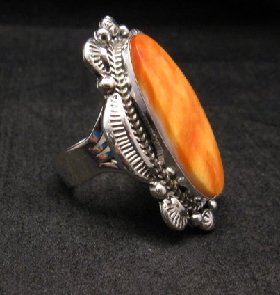 Image 1 of Navajo Handmade Silver Spiny Oyster Ring Sz12, Gilbert Tom